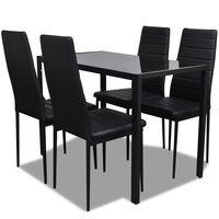 vidaXL Ensemble de table pour salle à manger cinq pièces noir