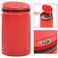 vidaXL Poubelle à capteur automatique 40 L Acier au carbone Rouge