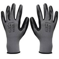 vidaXL Gants de travail Nitrile 24 paires Gris et noir Taille 9/L