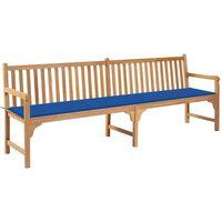 vidaXL Banc de jardin avec coussin bleu royal 240 cm Teck massif