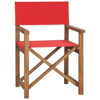 vidaXL Chaise de metteur en scène Bois de teck solide Rouge