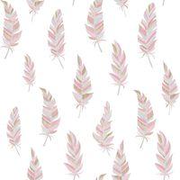 Urban Friends & Coffee Papier peint Plumes Blanc et rose