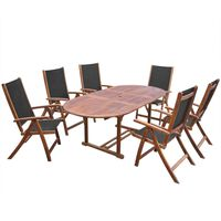 vidaXL Mobilier à dîner d'extérieur 7 pcs en Bois d'acacia solide