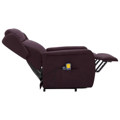 vidaXL Fauteuil de massage inclinable Violet Tissu