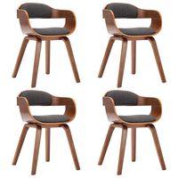 vidaXL Chaises de salle à manger 4 pcs Gris foncé Tissu et bois courbé