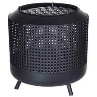 ProGarden Panier à feu avec grille de barbecue 50x51 cm Noir