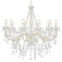 vidaXL Lustre avec perles Blanc 12 ampoules E14