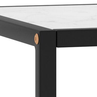vidaXL Table basse Noir avec verre marbre blanc 90x90x50 cm