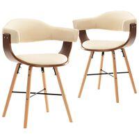 vidaXL Chaises de salle à manger 2 pcs Crème Similicuir et bois courbé
