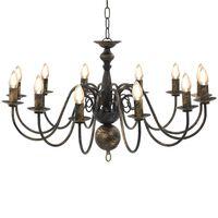 vidaXL Lustre Noir antique 12 ampoules E14