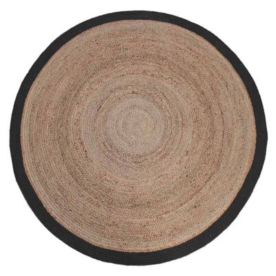 LABEL51 Tapis Jute Rond 150 cm Noir
