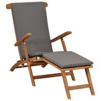 vidaXL Chaise longue avec coussin Gris foncé Bois de teck solide