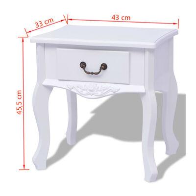 vidaXL Table de chevet 2 pcs MDF Blanc
