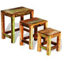 vidaXL Table gigogne 3 pcs vintage Bois de récupération