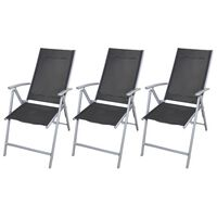 vidaXL Chaises de jardin pliables 3 pcs Aluminium Noir