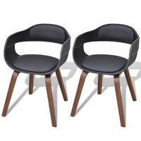 vidaXL Chaises de salle à manger 2 pcs Noir Bois courbé et similicuir