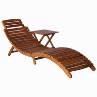 vidaXL Chaise longue avec table Bois d'acacia massif Marron