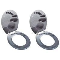 vidaXL Sièges de toilette avec couvercles 2 pcs MDF Pierres