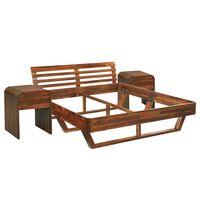vidaXL Cadre de lit et 2 tables de chevet Bois d'acacia 180x200 cm