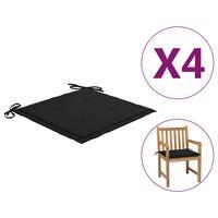 vidaXL Coussins de chaise de jardin 4 pcs Noir 50x50x4 cm Tissu