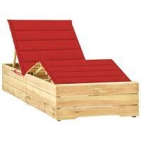 vidaXL Chaise longue avec coussin rouge Bois de pin imprégné