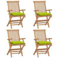 vidaXL Chaises de jardin avec coussins vert vif 4 pcs Bois de teck