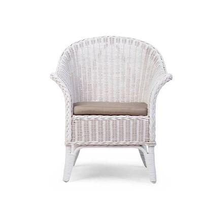 CHILDHOME Chaise en osier avec coussin pour enfants Mimo Blanc