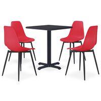 vidaXL Ensemble de salle à manger d'extérieur 5 pcs Métal et PP Rouge