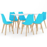 vidaXL Ensemble de salle à manger 7 pcs Bleu