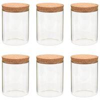 vidaXL 6 pcs Pots de conservation en verre et couvercle en liège 650ml