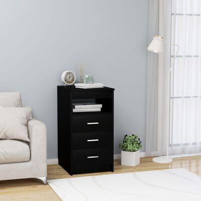 vidaXL Armoire à tiroirs Noir 40x50x76 cm Aggloméré