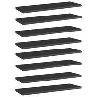 vidaXL Panneaux bibliothèque 8 pcs Noir brillant 60x20x1,5cm Aggloméré