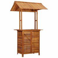 vidaXL Table de bar d'extérieur avec toit 122x106x217 cm Bois d'acacia
