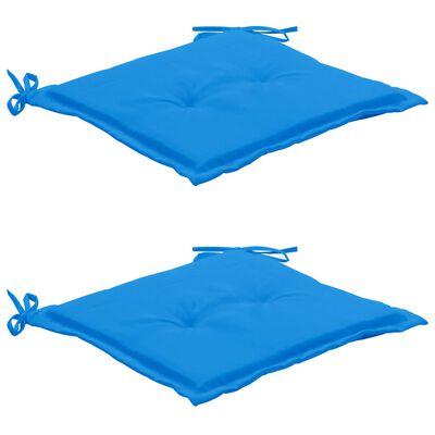 vidaXL Coussins de chaise de jardin 2 pcs Bleu 50x50x4 cm