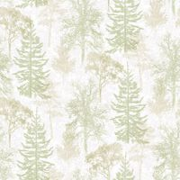 Evergreen Papier peint Trees Blanc et vert