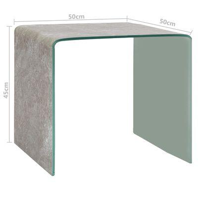 vidaXL Table basse Marron Marbre 50 x 50 x 45 cm Verre trempé
