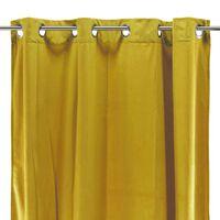 VELOURS - Rideau toucher velours jaune 140x250
