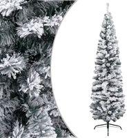 vidaXL Sapin de Noël artificiel mince flocon de neige Vert 180 cm PVC