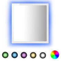 vidaXL Miroir à LED de bain Blanc brillant 40x8,5x37 cm Aggloméré