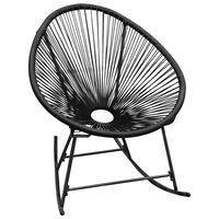 vidaXL Chaise à bascule d'extérieur Noir Résine tressée