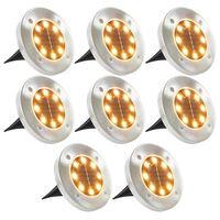 vidaXL Lampe solaire de sol 8 pcs Lumière LED Blanc chaud