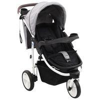 vidaXL Poussette bébé à 3 roues Gris et noir
