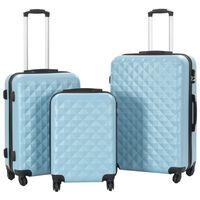 vidaXL Valise rigide 3 pcs Bleu ABS