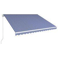 vidaXL Auvent manuel rétractable 450x300 cm Bleu et blanc