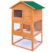vidaXL Clapier d'extérieur Enclos pour petits animaux 3 niveaux Bois