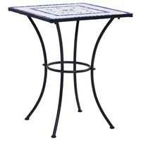 vidaXL Table de bistro mosaïque Bleu et blanc 60 cm  Céramique