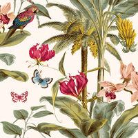 DUTCH WALLCOVERINGS Papier peint Palmier tropical Vert et rose