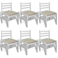 vidaXL Chaises de salle à manger 6 pcs Blanc Bois solide et velours
