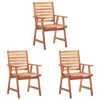 vidaXL Chaises de salle à manger d'extérieur 3 pcs Acacia massif
