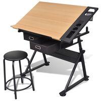vidaXL Table à dessin inclinable 2 tiroirs et tabouret